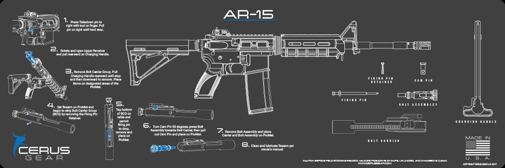 Cerus Gear Gun Mat For Ar 15 Instructional Promat Grey Blue