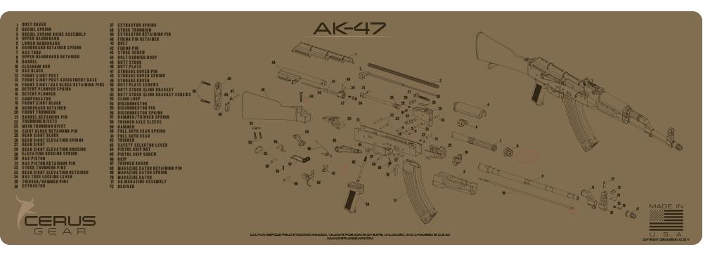 Cerus Gear Gun Mat for AK-47 Schematic Magnum Promat Coyote Brown