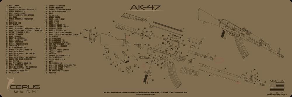 Cerus Gear Gun Mat for AK-47 Rifle Schematic Promat Coyote Brown on mosin nagant schematic, m16 rifle, ak-74 schematic, thompson submachine gun, fn scar, ak full auto schematic, m60 machine gun, fn fal, m4 schematic, uzi submachine gun, m1 garand, mikhail kalashnikov, assault rifle, m4 carbine, steyr aug, winchester schematic, sks schematic,