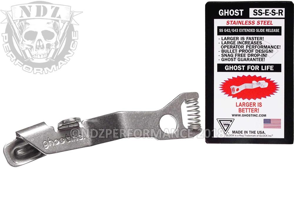 Ghost ESR Extended Slide Release For Glock Model 42 43 43X 48 Stainless  Steel