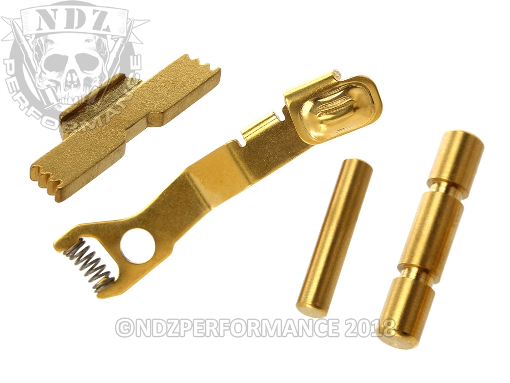 NDZ Tin Coated Gold Kit for Glock 42, ESLL, Pins, Ghost ESR