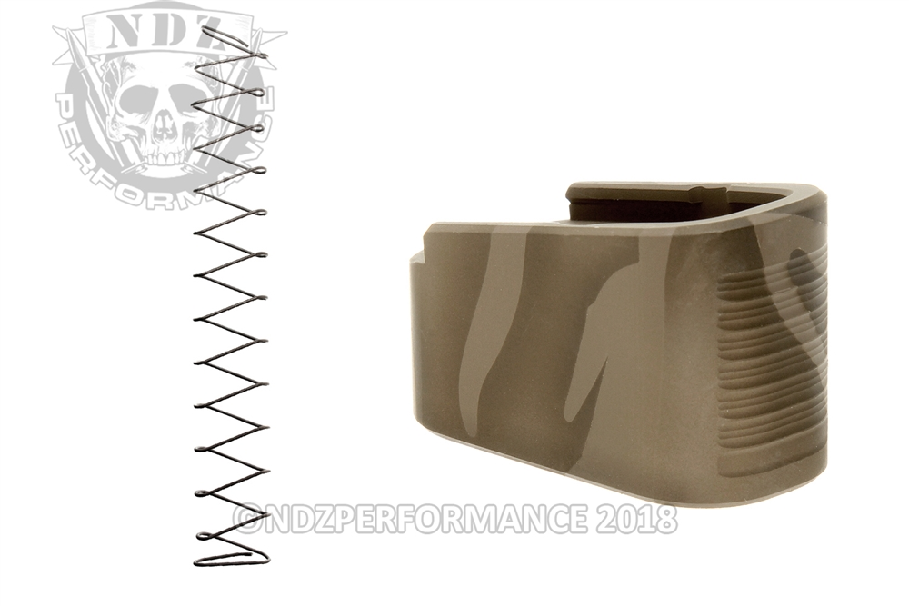 NDZ +2 Magazine Plate with Ghost Magazine Spring for Glock 43 Cerakote  Tiger Stripe Pattern 1