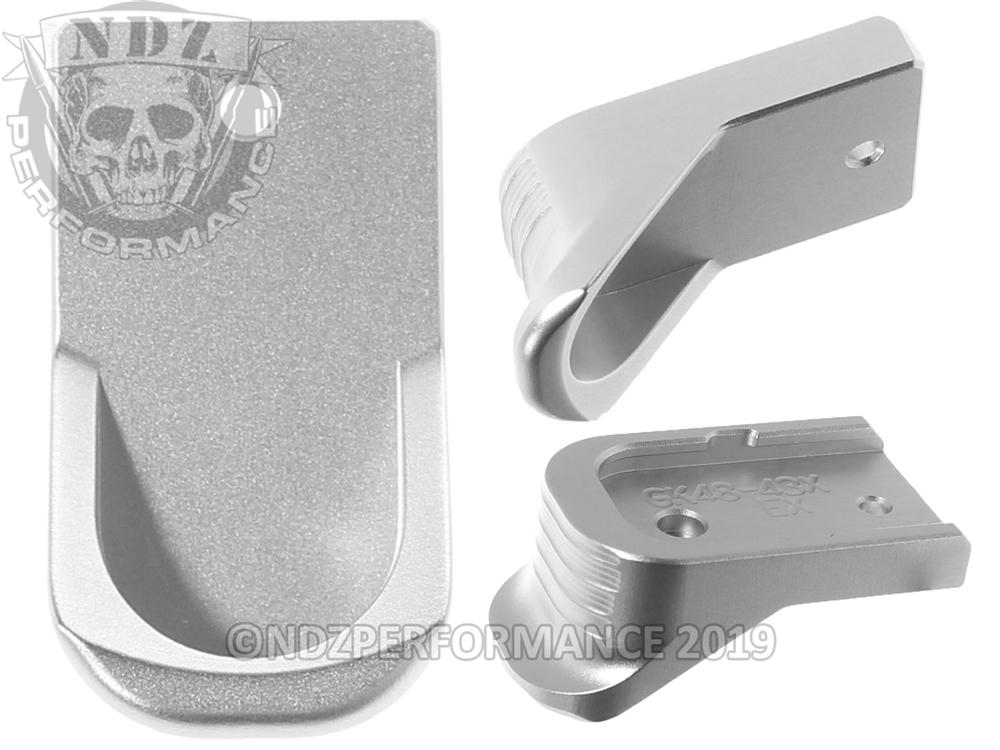 Ndz Silver Finger Extended Magazine Plate For Glock 43x 48