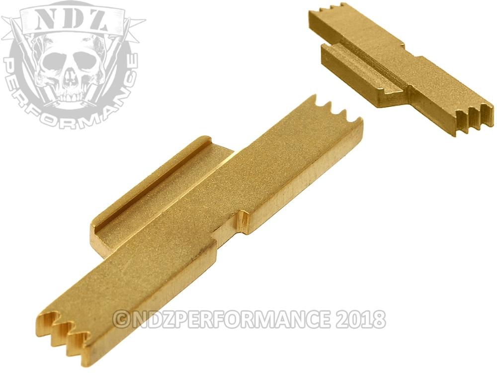 NDZ Gold TiN Extended Slide Lock Lever for Glock 17 19 23 26 Gen 1-5