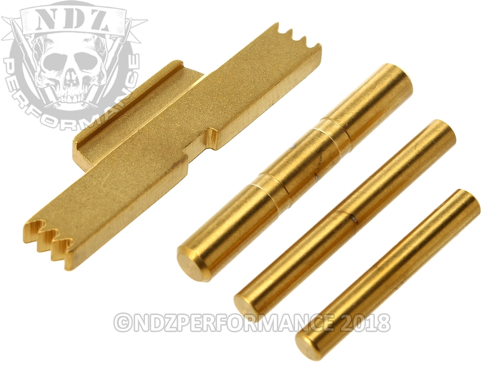NDZ TiN Coated Gold Kit for Glock Gen 5, ESLL, Pins