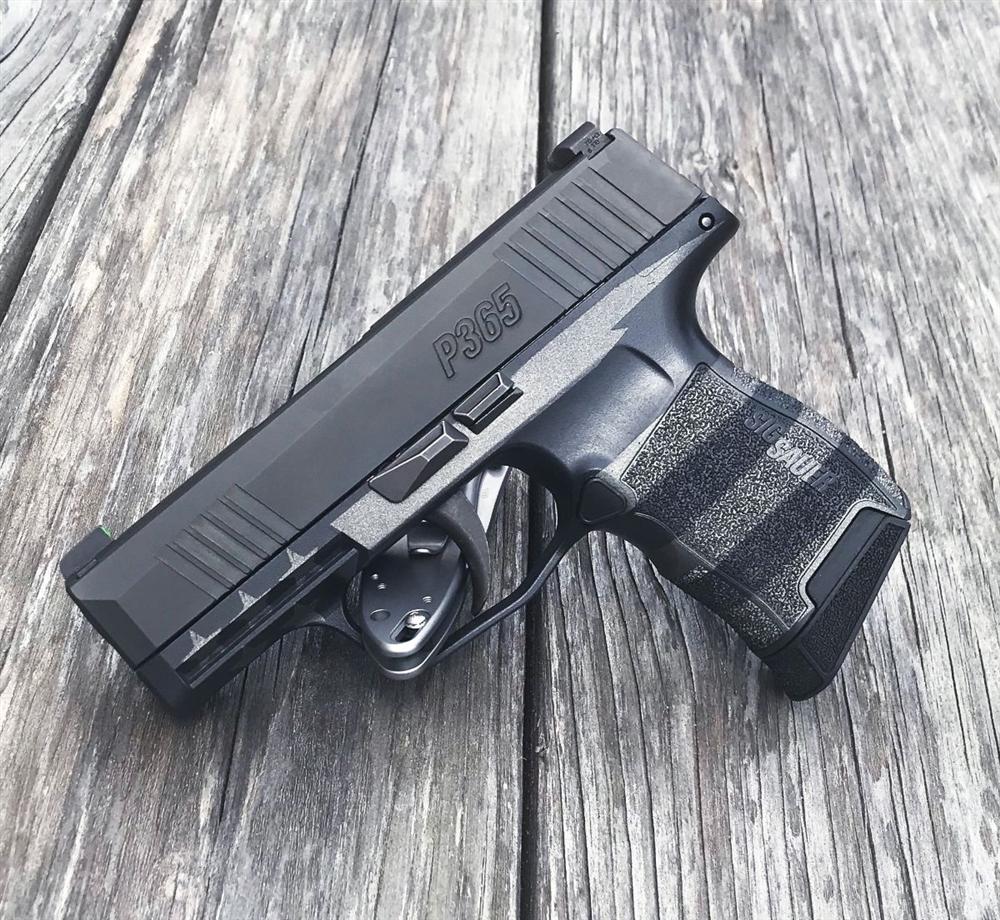 Sig Sauer P365 Grip Module Compact 9mm Cerakote Blackout & Tungsten U S   Flag