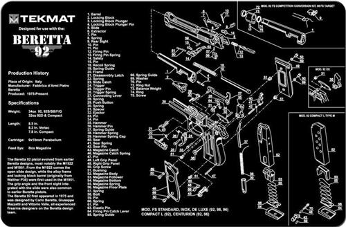 Tekmat Gun Cleaning And Maintenance Mat For Beretta 92 92 M9