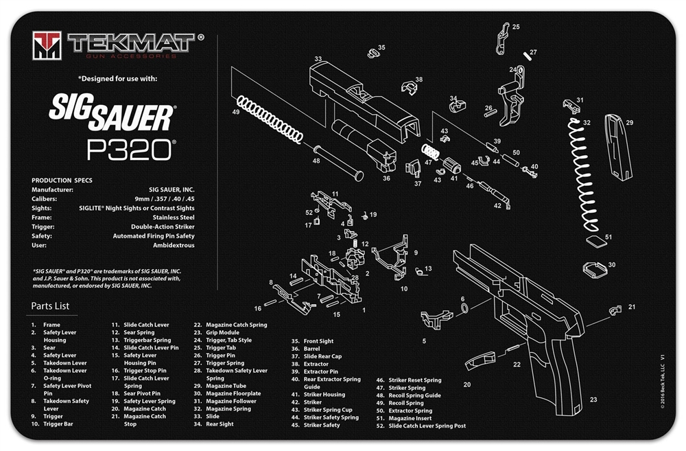 TekMAT Gun Cleaning and Maintenance Mat for Sig Sauer P320