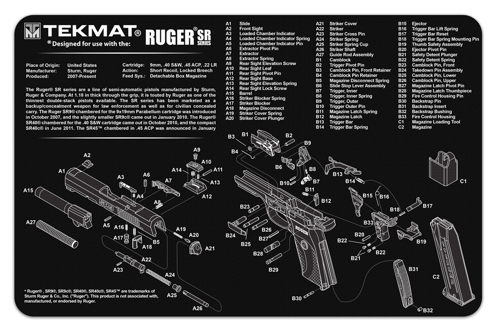 TekMAT Gun Cleaning and Maintenance Mat for Ruger SR Series