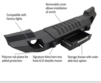 Go Rhino Trailline Winch Ready Front Stubby Bumper (Black) for 07-19 JK & JL