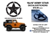 "6x16"" ARMY STAR DECAL/STICKER"