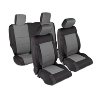 Smittybilt Neoprene Front and Rear Seat Cover Kit (Black/Gray) for 13-18 Jeep Wrangler JK 2Door Models