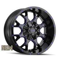 MAYHEM Wheels Warrior Black with Prism Blue 17x9