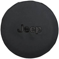 MOPAR Jeep Tire Cover in Black Denim with Black Jeep Logo