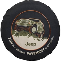 "Jeep Tire Cover in Black Denim with ""FUN is Standard. PAVEMENT is Optional"""