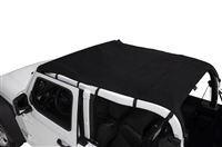 Rampage California Style Brief Soft Top - Black Diamond, Includes Windshield Channel - for 18-20 Jeep Wrangler JL (4-Door)
