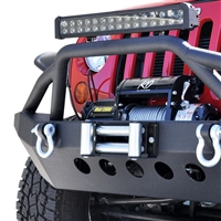 DV8 Offroad Mid Length Front Bumper with Bull Bar (Black)  for 07-19 Jeep Wrangler JK & JL