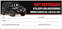 GTA JEEPS GIFT CERTIFICATE