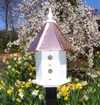 Our post mount 2 Story Bungalow Bird House is lovely on a post in your garden. The copper roof adds to the beauty. Will patina over time