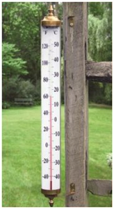 24 Inch Outdoor Thermometer.Two Foot Tall Easy To Read Brass Thermometer
