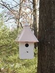 Our Hanging Cabin Bird House is lovely Hanging from a tree your garden. The copper roof adds to the beauty. Will patina over time