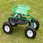 Garden scoot with tractor seat and pneumatic wheels.