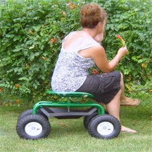 Garden Scoot with Tractor Seat Pneumatic Wheels
