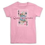light pink queen of spades T-shirt for gardeners.