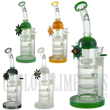 "BD067 13.5"" Water Pipe + Stemless + 2 Honeycombs + Stereo Perc + Bent Neck + Eye Sun Design + Color + 5 DIAMOND"
