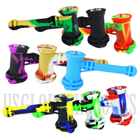 "BU-552 7"" Silicone Hammer Bubblers + Assorted Colors"