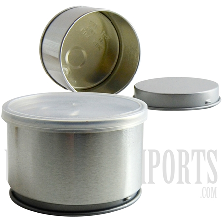 "Bag-6 1.5"" Metal Tin Can Container Peel. Comes with Clear Plastic Lid"