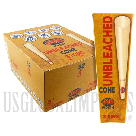 CP-117JOB Virgin Rolling Papers with Tip | 96 Unbleached Cones | 32 Packs | 3 Cones Per Pack