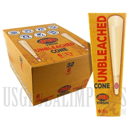 CP-118 JOB Virgin Rolling Papers with Tip | 192 Unbleached Cones | 32 Packs | 6 Cones Per Pack