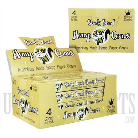 CP-243 Hemp Cones by Skunk Brand. King Size Cones. 24 Packs per Box. 4 Cones per Pack.