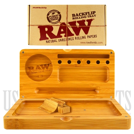 "CP-504 RAW Back Flip Bamboo Rolling Tray 9.4"" x 8.6"""