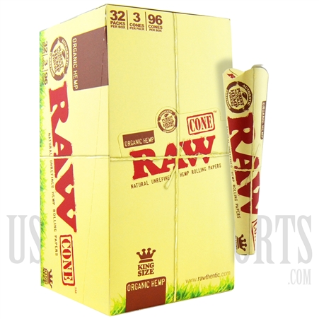CP-512 RAW Organic Hemp. 96 Cones. 32 Packs. 3 Cones Per Pack