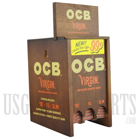 CP-600 OCB Virgin Unbleached Cigarette Papers. 3 Size. 24 pack each size. 50 papers per pack. Display Box