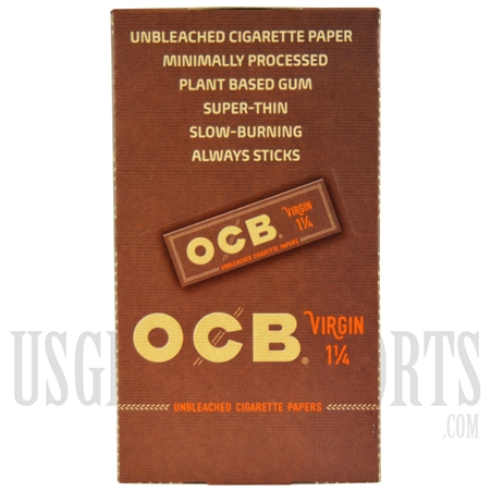 CP-602 OCB Virgin 1 1/4 Unbleached Cigarette Papers. 24 Booklets