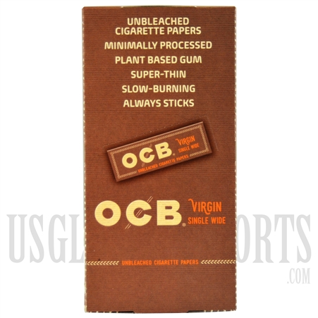 CP-603 OCB Virgin Single Wide Unbleached Cigarette Papers. 24 Booklets