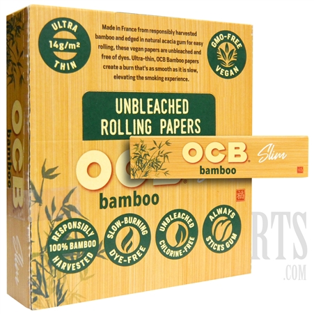 CP-609 OCB Bamboo Slim Rolling Papers | 24 Booklets