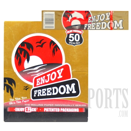CP-95 Enjoy Freedom King Size Slim Utlra Thin Rolling Paper Special Pack. 50 Pack Box + 50 Rolling Paper