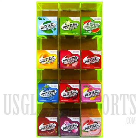EC-1031 JUSTZERO Flavor Pop Display. Flavored Mouth tips. Tobacco & Nicotine Free. 120 Count. 12 Flavors. 10 Packs each Flavor. 4 Per Pack