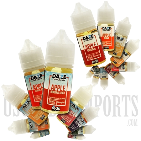 EC-892 30ML DAZE Salt Series Iced reds Apple EJuice by 7 Daze. Many Flavors Available