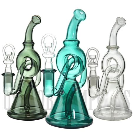 "GRP-1093 8.5"" Water Pipe + Stemless + Donut Recycler + Bent Neck + Color"