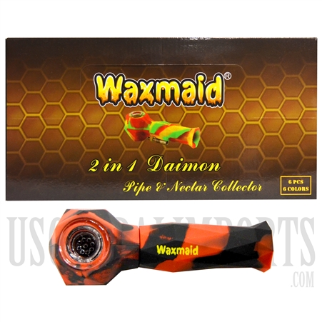 "HP-2101 5.5"" Waxmaid 2-1 Daimon Pipe & Nector Collector Silicone + Color Options"