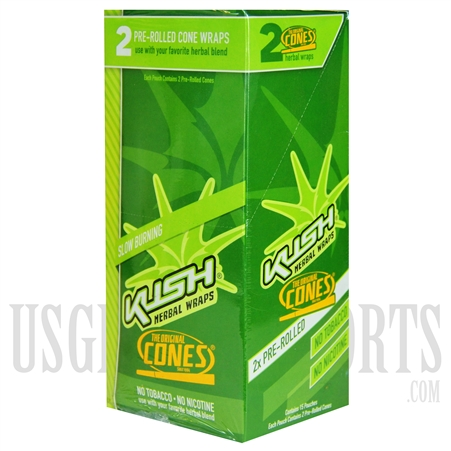 HW-104 Kush Herbal Wraps Cones. 15 Pouches. 2 Pre-Rolled