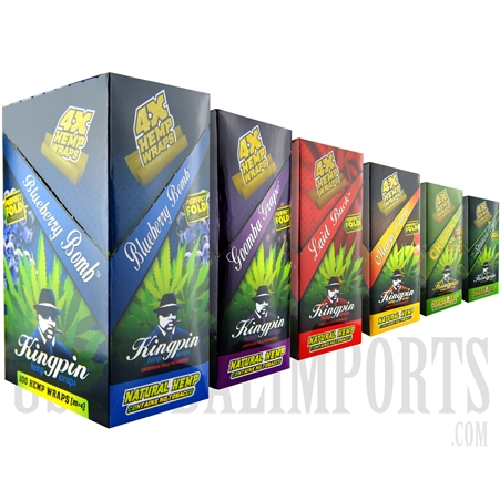 HW-114 Kingpin Hemp Wraps | No Tobacco | 100 Hemp Wraps | 25 Packs | 4 Wraps in a Pack | 6 Flavor Choices