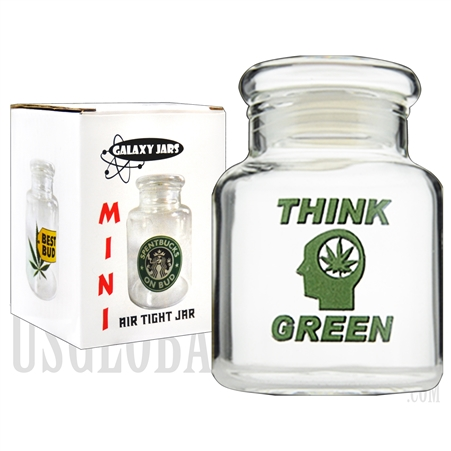 "JAR-5-10 3.5"" Mini Air Tight Jar by Galaxy Jars - Think Green"