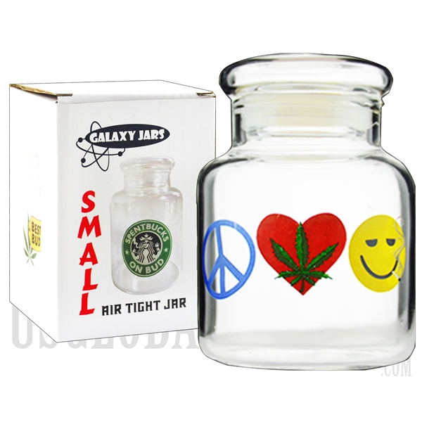 "JAR-6-7 3.75"" Small Air Tight Jar by Galaxy Jars - Peace, Weed & Happiness"