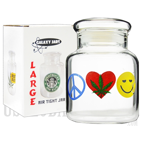 "JAR-8-7 4"".5 Large Air Tight Jar by Galaxy Jars - Peace, Weed & Happiness"